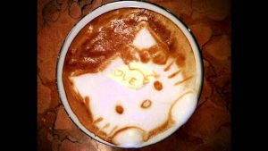 dessin de lait latte art chat love
